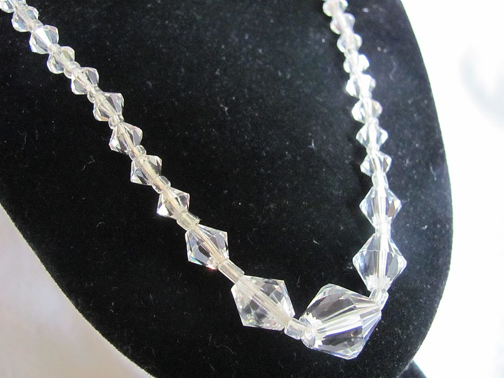 Art Deco Cut Rock Crystal Gorgeous !!! Graduated Necklace