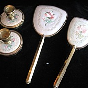 SALE 4pc Vintage Embroidered & Gold Vanity Set Mirror, Brush, and Candlesticks! Pink Roses!