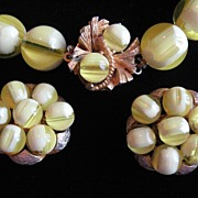 SALE Vintage Yellow Marble Lucite Necklace & Clip on Earrings VERY SPRING!