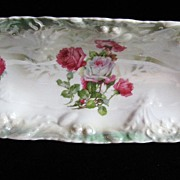 SALE Germany Handpainted Mint Green & Pink Roses Long Celery Dish Shabby Chic!