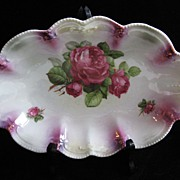 SALE Large Handled Bowl w/Pink Roses Lusterware