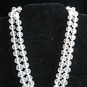 SALE Vintage Double Strand Crystal Beaded Necklace w/Art Nouveau Clasp