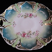 SALE Vintage JPF Germany Double Handled Cake Plate Green w/Wild Roses