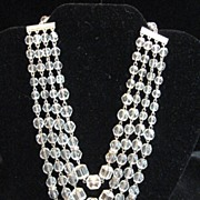 SALE Vintage 4 Strand Crystal & Rhinestone Beaded Necklace Unique shaped beads!