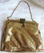 Vintage Whiting Davis Gold Mesh Evening Handbag or Purse Multi-colored Rhinestone Clasp