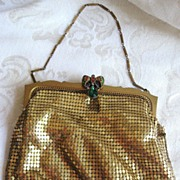 SALE Vintage Whiting Davis Gold Mesh Evening Handbag or Purse Multi-colored Rhinestone Clasp