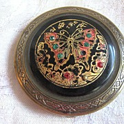 SALE Vintage Handpainted Asian and Art Deco Powder Compact Rhinestones & BUTTERFLY