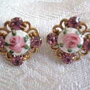 SALE 2 Pink Rhinestone and Guilloche Brooch, Sweater, or Scarf Pins