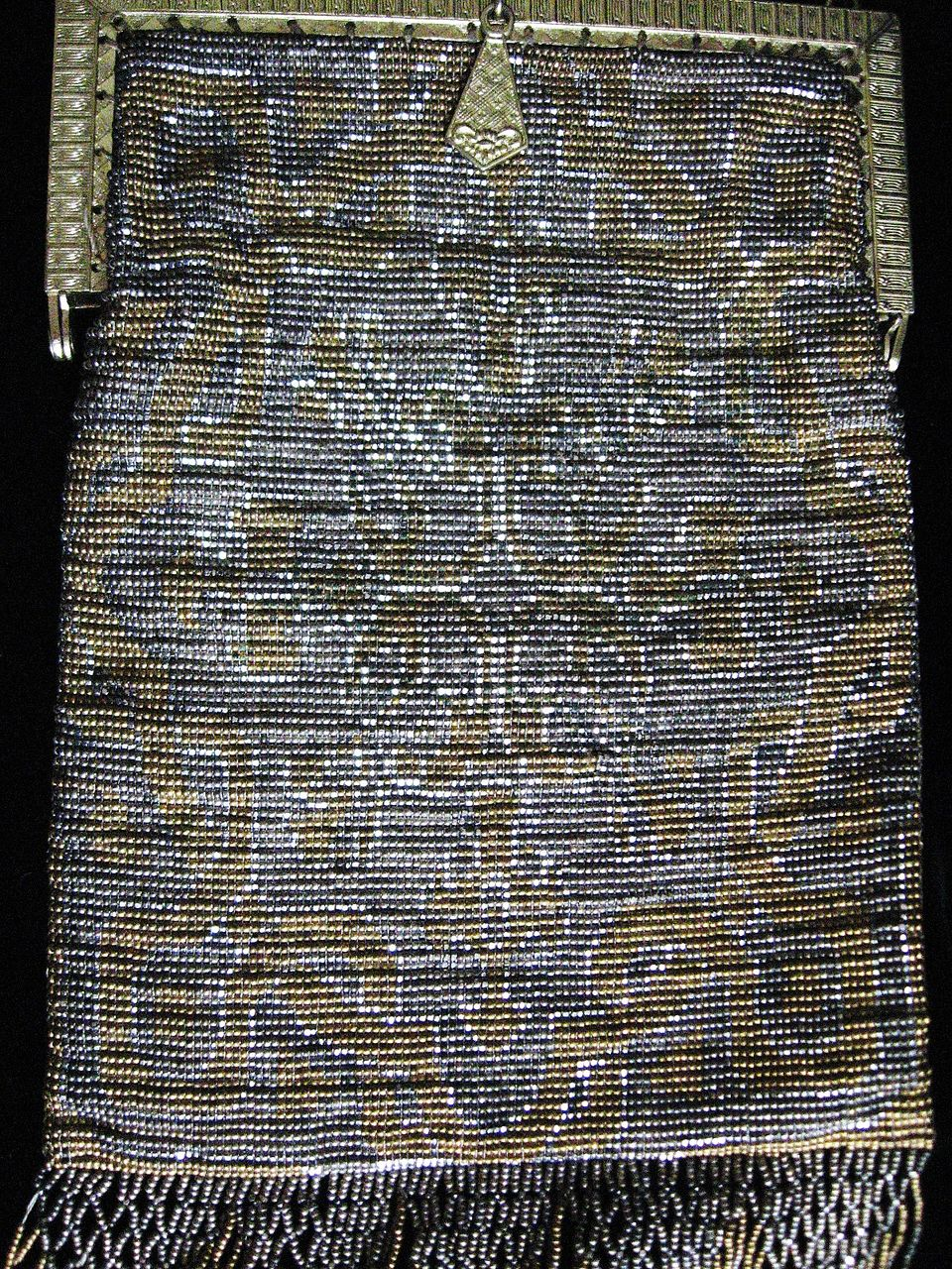 "Vintage French Micro Beaded Metallic Purse or Flapper handbag ""ART DECO"""