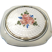 SALE EVANS Silver and Guilloche Powder Compact ROSES!
