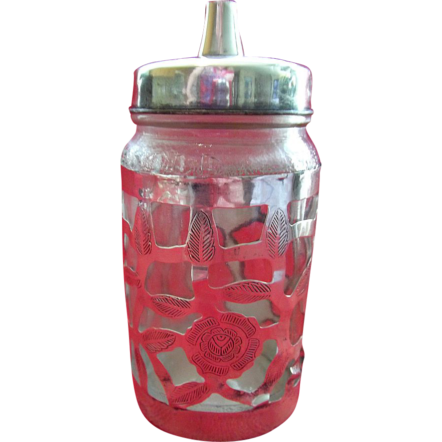 Mexican Sterling Silver overlay with Nestle Jar Sugar Shaker