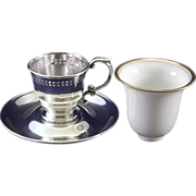 SALE Sterling Silver & Lenox Demitasse Cup and Liner