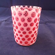 SALE Fenton Cranberry Opalescent  Tumbler Honeycomb