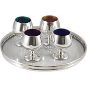 SALE Gorham Sterling Silver Wine Coaster and 4 Enameled Cordials