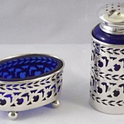 Sterling Silver Open Salt Cellar and Shaker w/Cobalt Liner