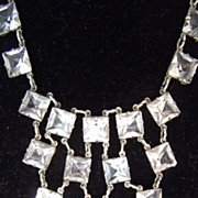 SALE Vintage Art Deco Sterling Silver Square Crystal Bezel Necklace