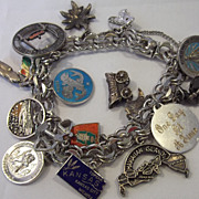 SALE Winard Sterling Silver and Guilloche Travel and Religious Charm Bracelet