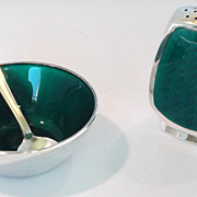 A MICHELSEN Denmark Sterling Silver & Guilloche Salt Cellar Spoon Shaker GREEN