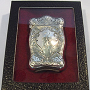 Webster Sterling Silver Art Nouveau Embossed Floral Vesta Match Case w/Striker