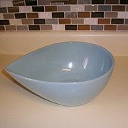 SOLD Fire King Turquoise Blue Swedish Modern Teardrop Mixing Bowl