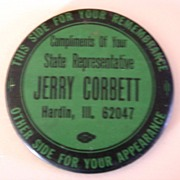 Vintage Political Advertising Pocket Mirror Jerry Corbett