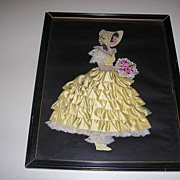 Vintage Ribbon Art Paper Doll In Frame