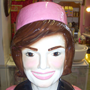 SALE Amazing  look like Jackie Kennedy cookie jar in pink pill box hat