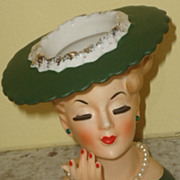 SALE SALE Beautiful Vintage Napco Lady head vase in green with hat hand