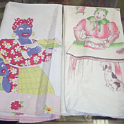 SALE sale Two Vintage Black Americana Mammy Aunt Jemima Dishtowels