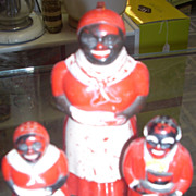 SALE Charming vintage F F Die Mold Works Aunt Jemima Syrup and Moses salt and ...