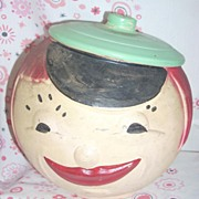 "SALE Wonderful Primitive looking ""Rare"" RRP American Bisque Moon Girl cookie jar"