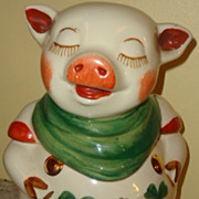 Vintage Shawnee Smiley Pig cookie jar gold trim