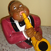 Amazing Black Americana Sax Player cookie jar