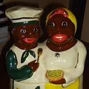 African American Aunt Jemima and Chef cookie jar Black Americana Gold trim