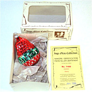 SALE Red Green Merry Pear Inge Glas Christmas Ornament Mint in Box