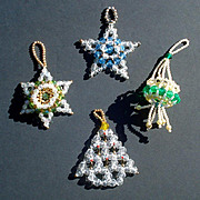 3 Hand Crafted Dimensional Beaded Christmas Ornaments