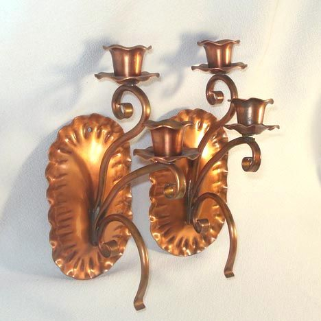 Gregorian Copper Double Wall Candle Sconces from coppertonlane on Ruby Lane