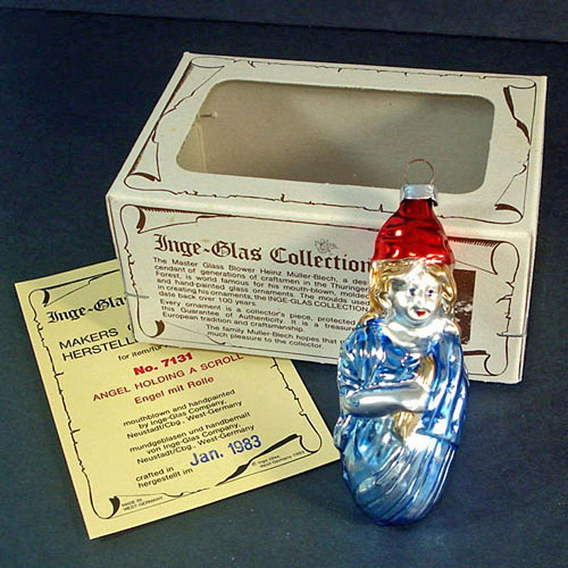 1983 Miss Liberty Inge Glass Christmas Ornament Mint in Box