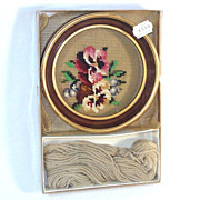 Pansies Boxed Round Framed Needlepoint Kit