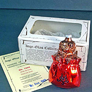 Inge Dog in Bag 1982 Glass Christmas Ornament Mint in Box
