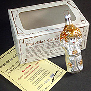 Curly Gold Haired Angel Inge Glass Christmas Ornament Mint in Box