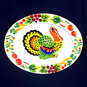 Colorful Mid Century Enamelware Turkey Platter