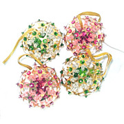 4 Pink Green Starburst Pin Beaded Sequined Christmas Ornaments