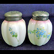 Gillinder Melon Victorian Opalware Shakers Blue Flowers