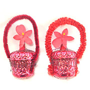 SALE Pair Wired Red Glass and Chenille Flower Basket Christmas Ornaments