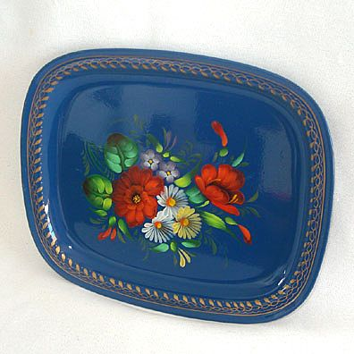 Vintage Russian Blue Tole Tray Gorgeous Flowers