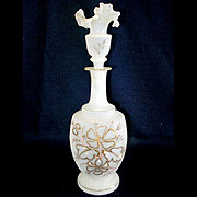 Bristol Glass Enameled Ruffled Top Perfume or Dresser Bottle
