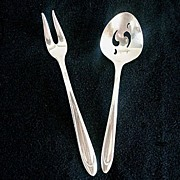 First Lady Meriden Silverplate Pickle Olive Fork and Sugar Sifter Spoon