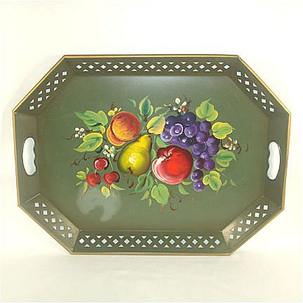 Nashco Tole Tray Green With Fruit