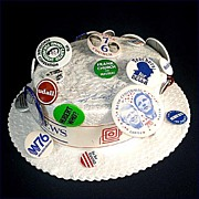 1976 Democratic Convention Autographed Hat With Political Campaign Pinbacks